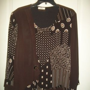 HLM Collection multi-pattern blouse 0X NWOT